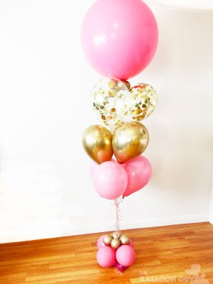 Pink and Gold Confetti Balloon Bouquet