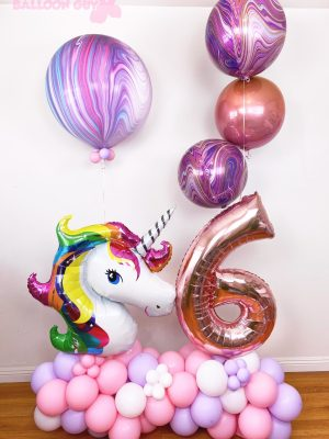 Unicorn Garland Balloon Bouquet Pink