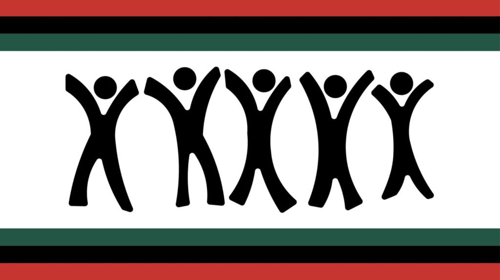 Black Figures On A Flag.