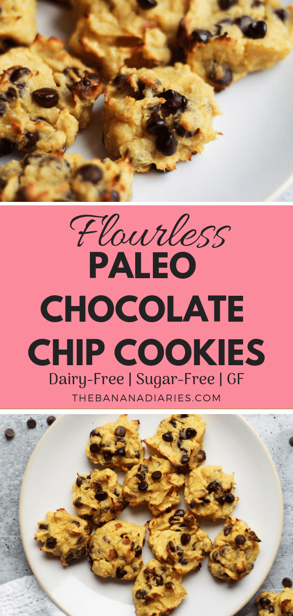 Flourless Paleo Chocolate Chip Cookies | These paleo chocolate chip cookies are hands down the BEST and they're nut-free, flourless, dairy-free, gluten-free, and sugar-free! They also have a vegan option! | #thebananadiaries #chocolatechipcookies #paleo #glutenfree #sugarfree #whole30 #chocolate