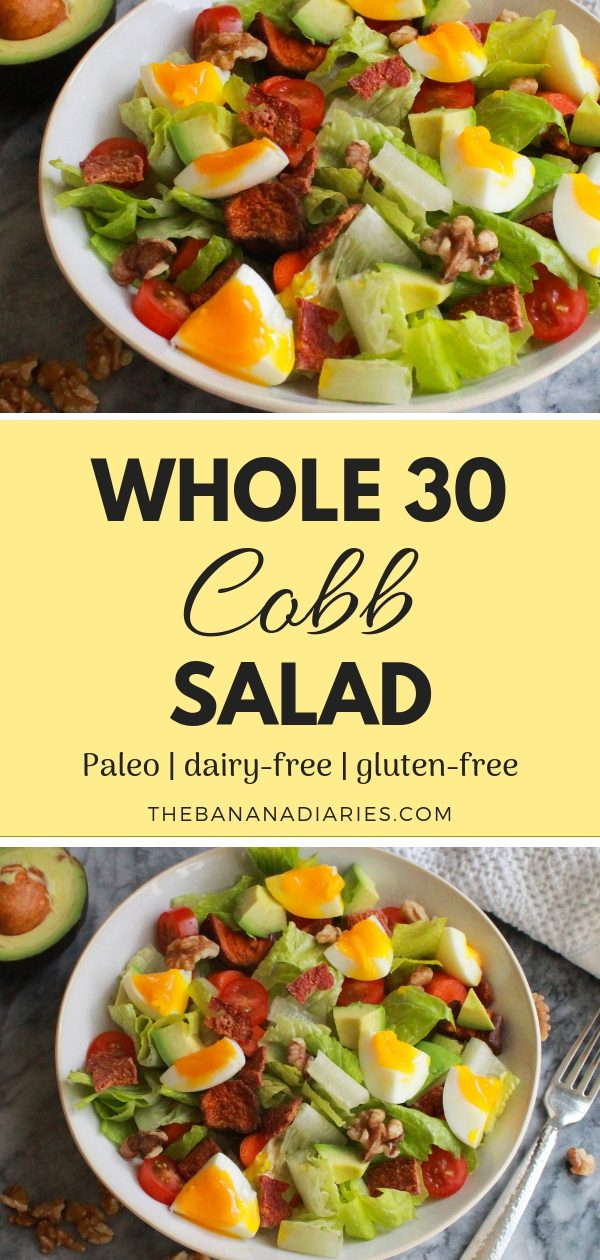 Pinterest image for Whole30 Cobb Salad