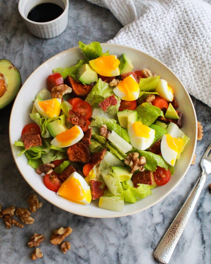 Paleo cobb salad with balsamic vinegar