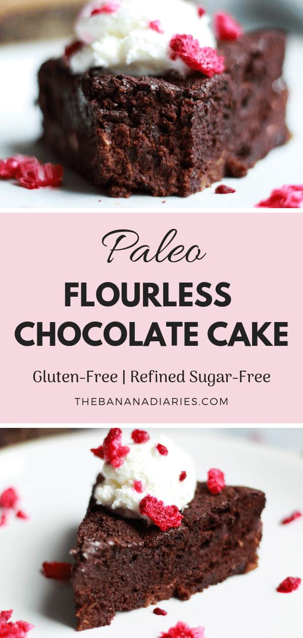 pinterest image for flourless chocolate cake