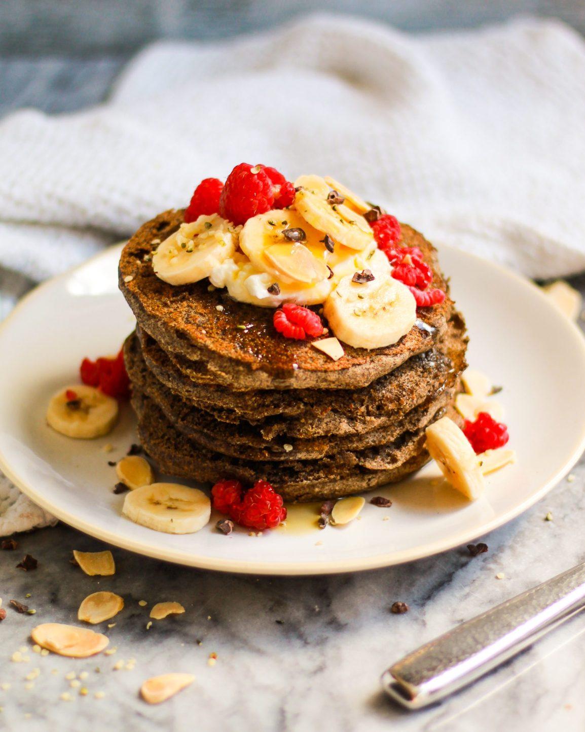overhead shot of fluffy vegan buckwheat pancakes