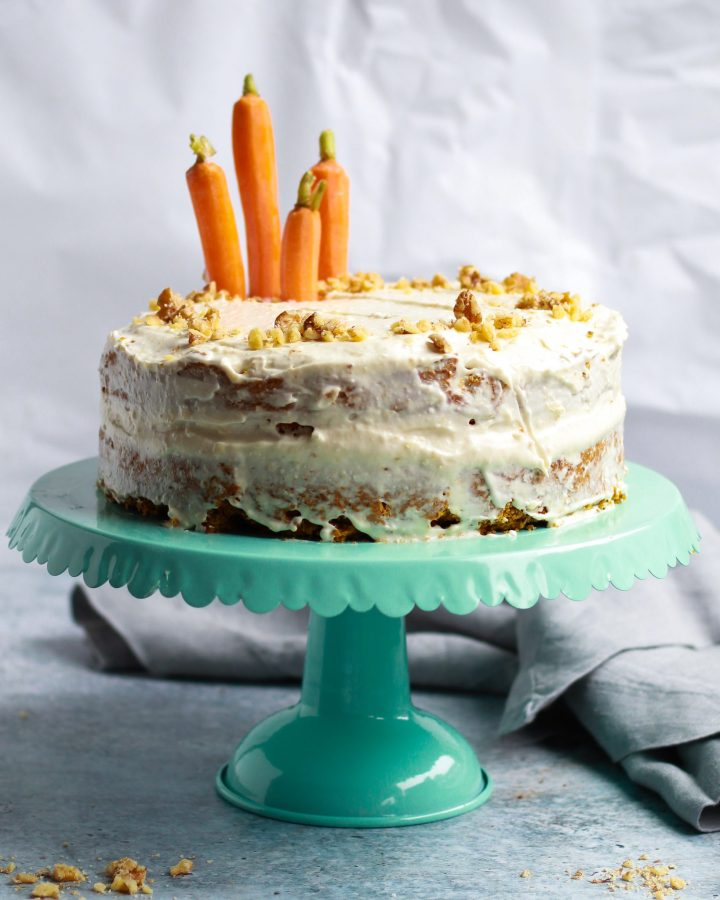carrot cake on stand