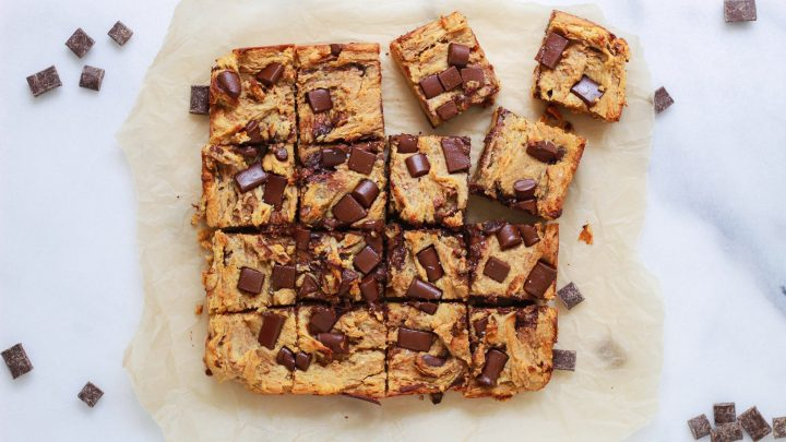 header of paleo chocolate chip blondies