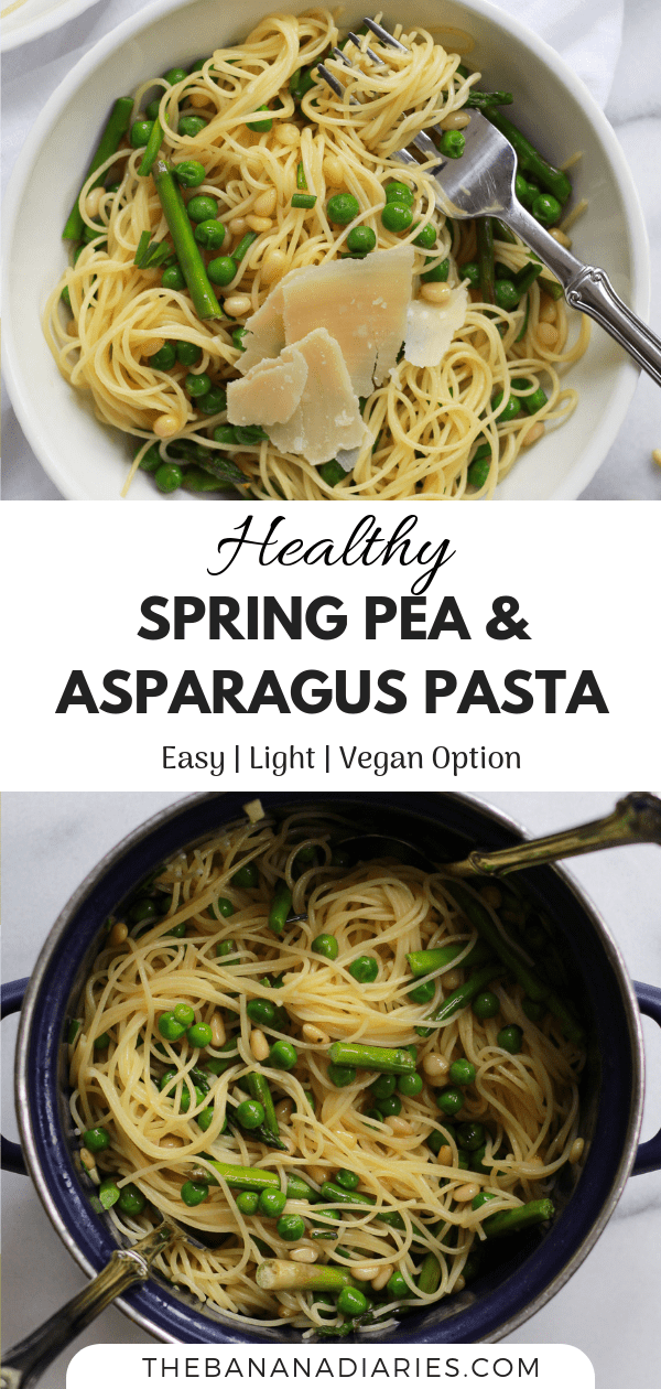 pinterest image of pea and asparagus pasta