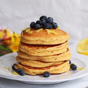 stack of fluffy lemon ricotta pancakes