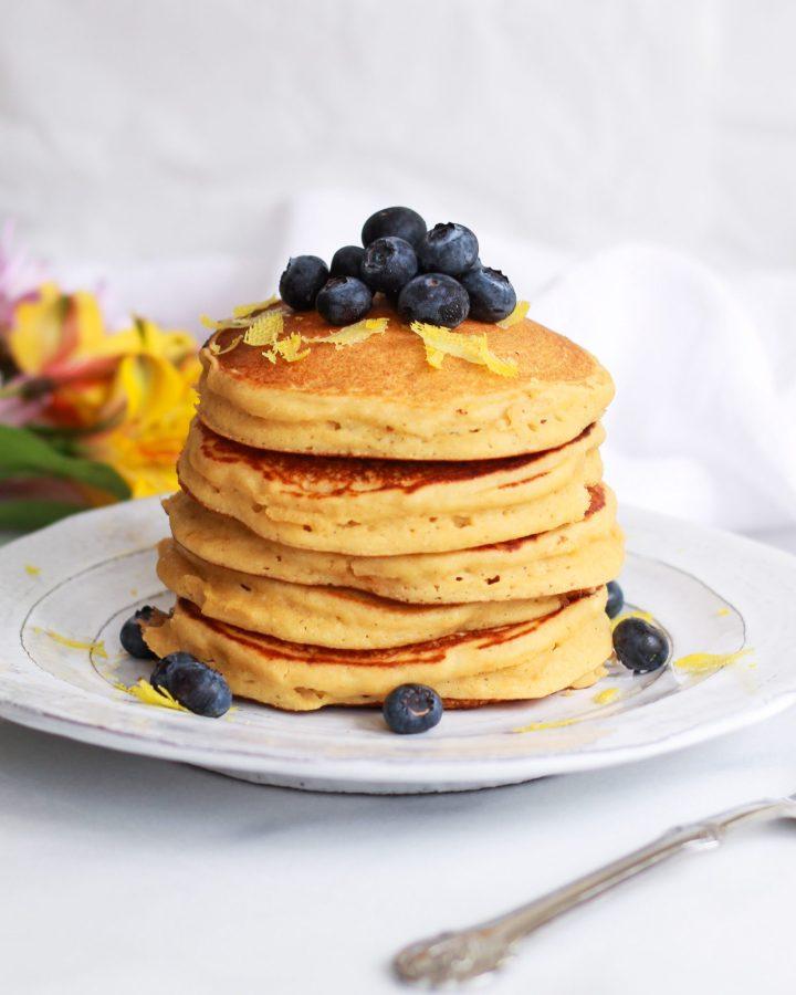 stack of healthy lemon ricotta pancakes