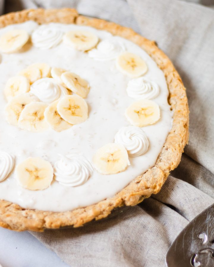 side angle of banana cream pie
