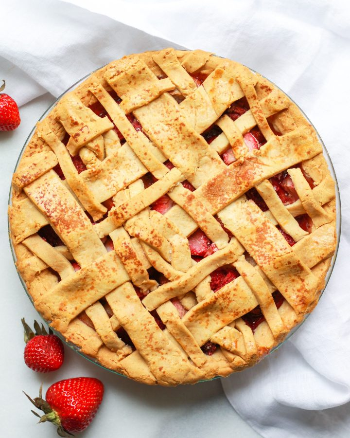 Paleo strawberry rhubarb pie with lattice crust