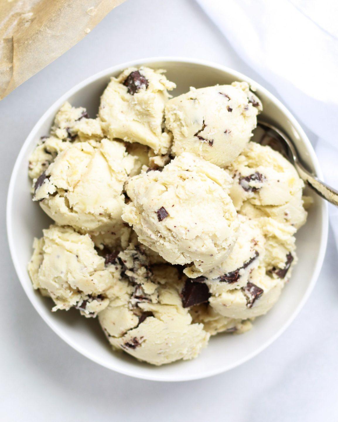 bowl of vegan vanilla ice cream with chocolate chips