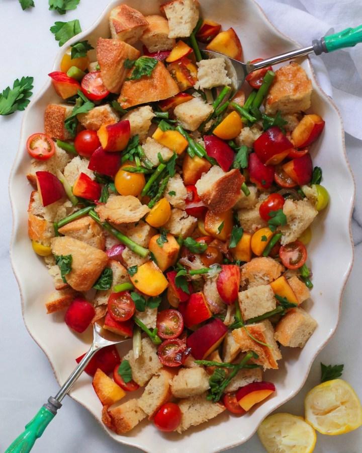 panzanella salad with salad tongs