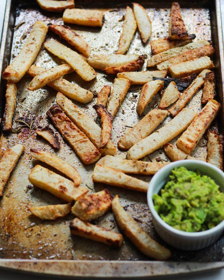jicama fries on baking sheet fully cooked