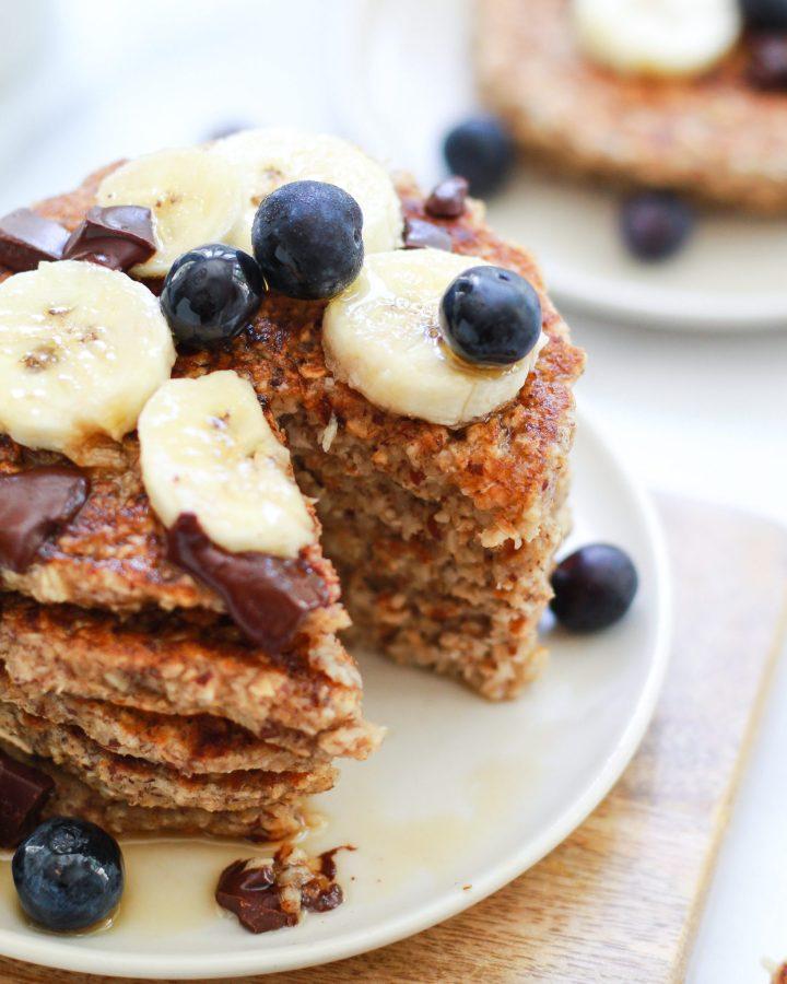 close up of stack of banana pancakes