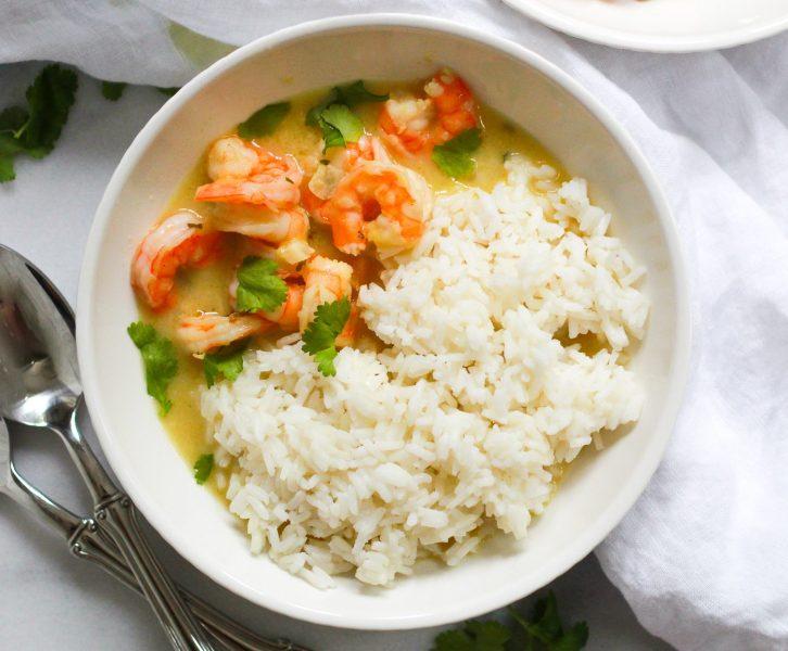 header for whole30 coconut milk shrimp