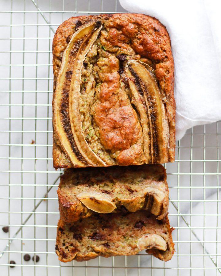 overhead of zucchini banana bread
