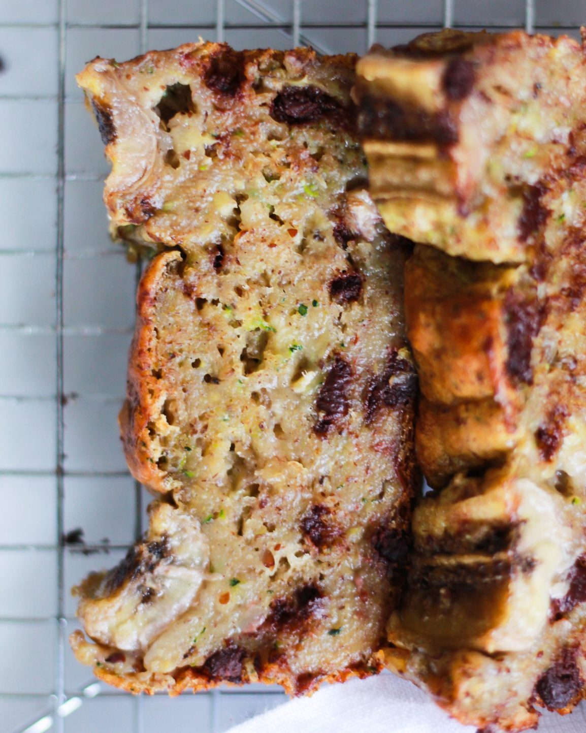 up close shot of zucchini banana bread