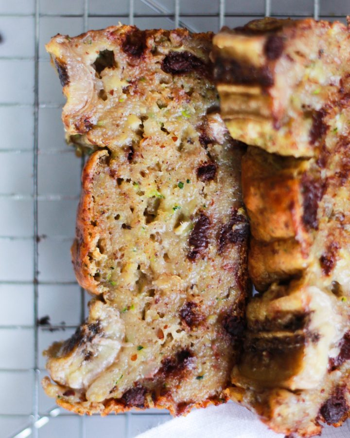 up close shot of zucchini banana bread