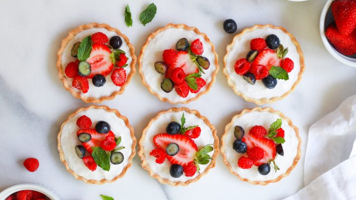 header of mini vegan fruit tarts with custard