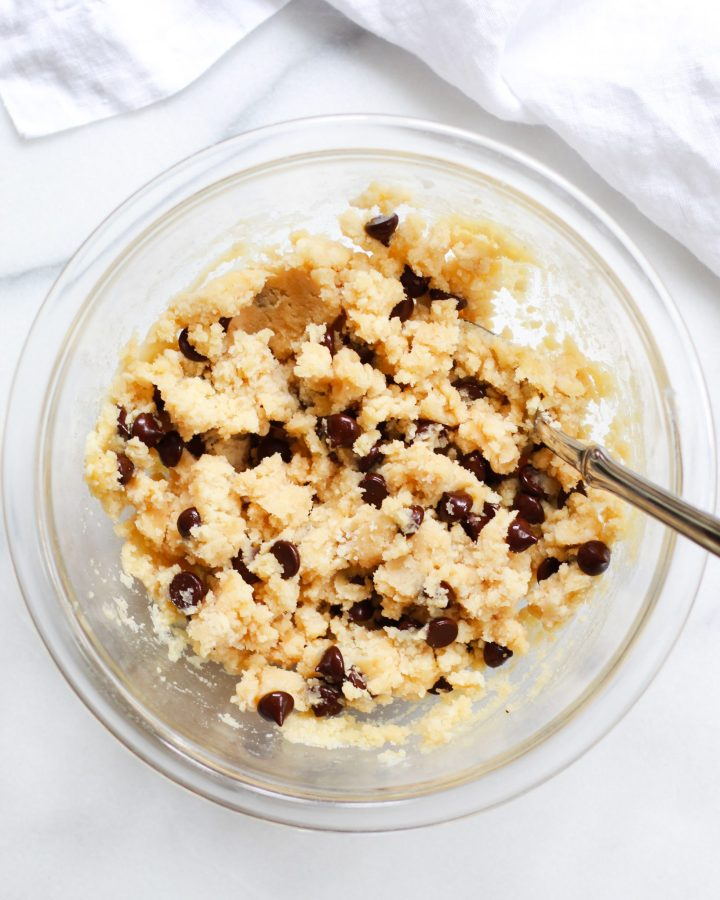 cookie dough in clear bowl