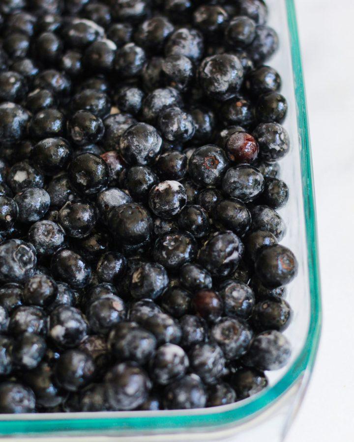 blueberries tossed in vegan butter and arrowroot powder