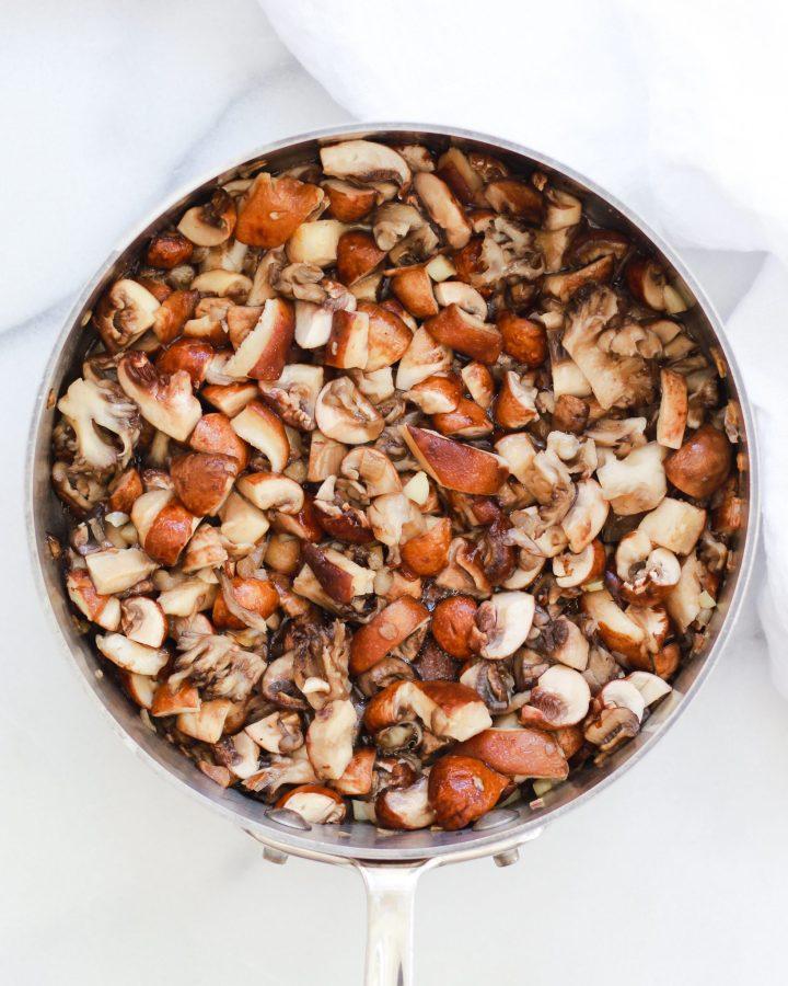 mushrooms sautéed on a pan