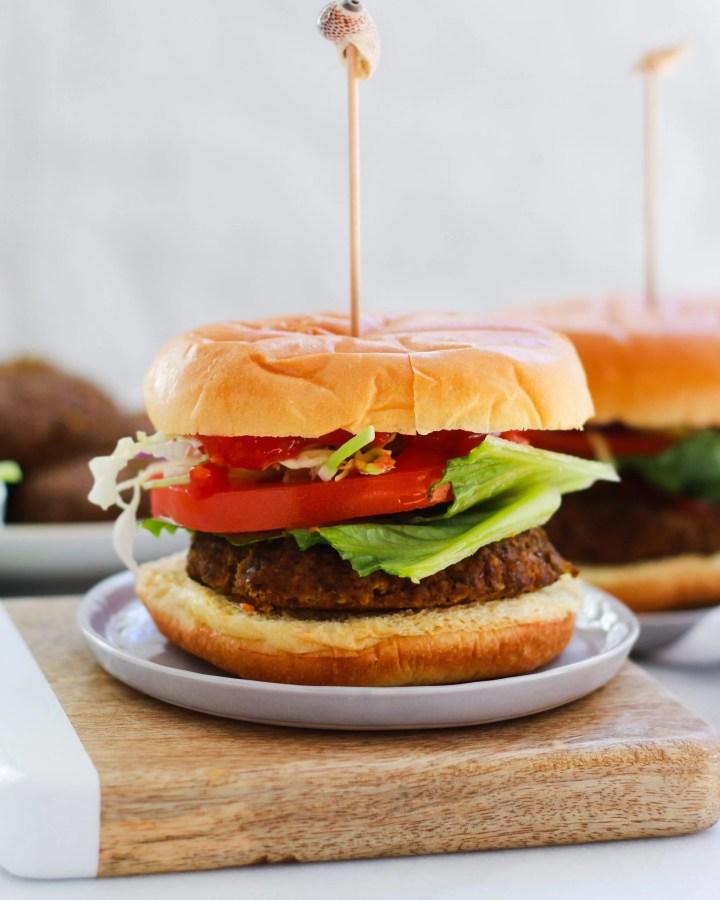 veggie burgers with toothpick