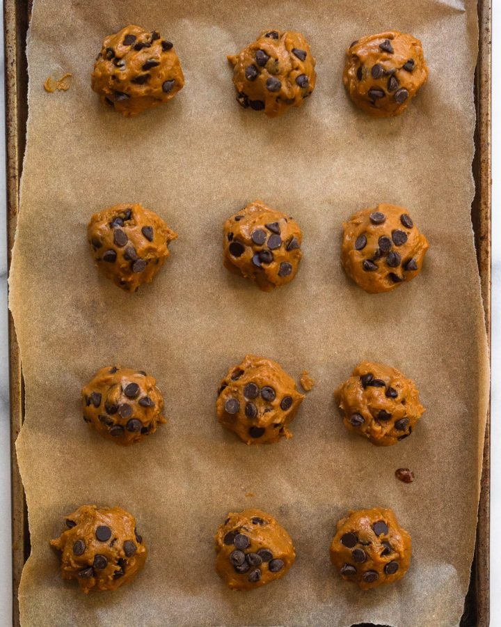 vegan chocolate chip cookies before they're baked