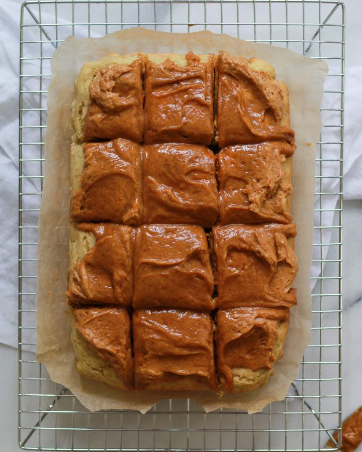 sliced banana sheet cake with vegan peanut butter frosting