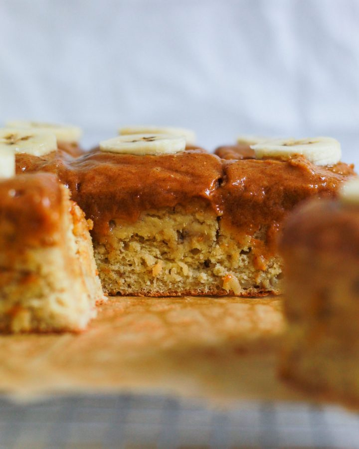 inside texture of vegan banana cake