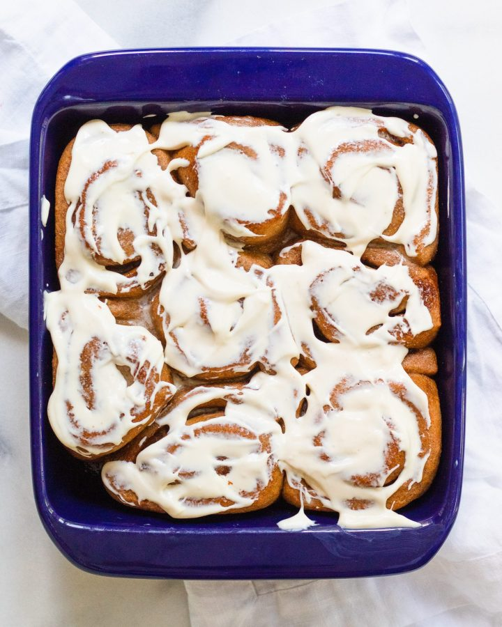 baking dish full of cinnamon rolls