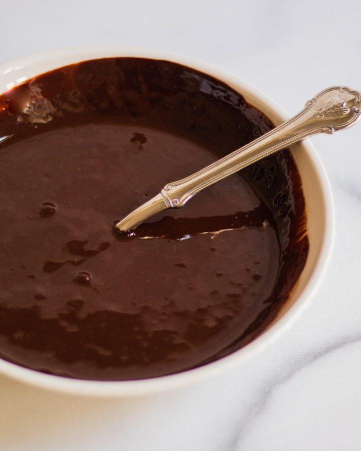 vegan chocolate ganache in a bowl