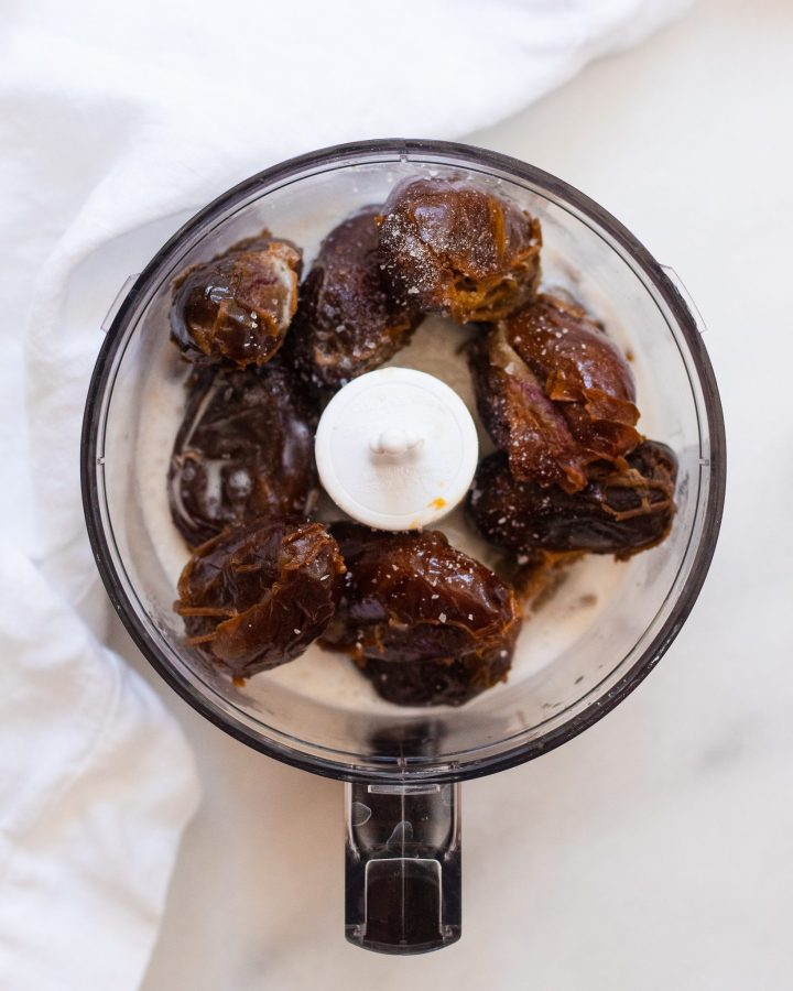 food processor with dates and coconut cream