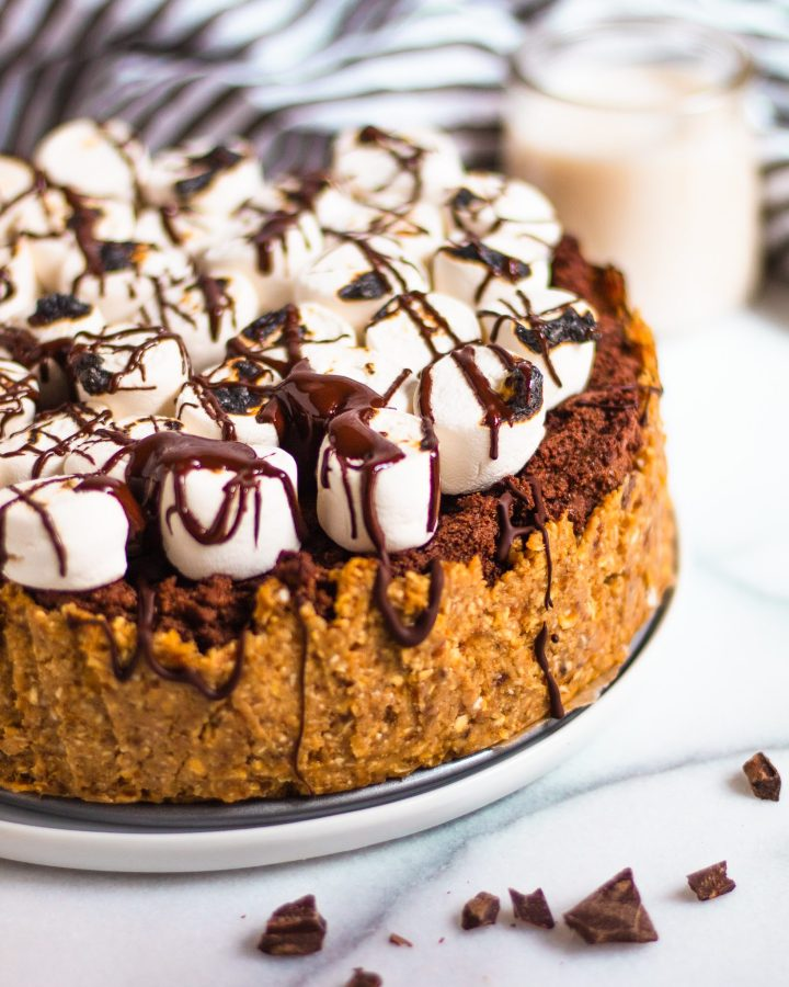 close up of chocolate pie with marshmallows