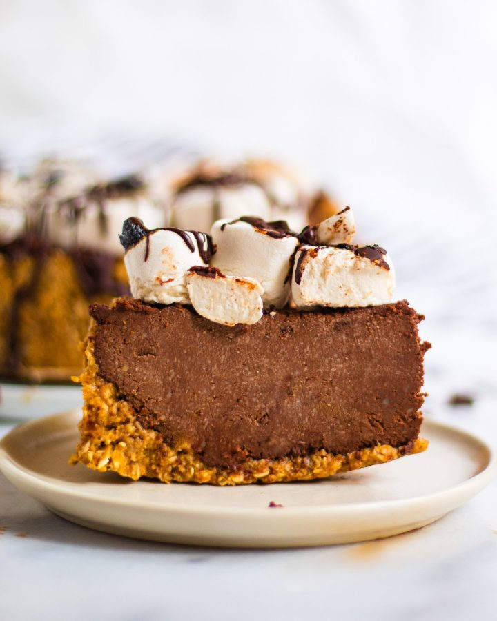 slice of vegan s'mores pie