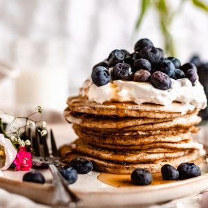 close up of vegan buttermilk pancakes