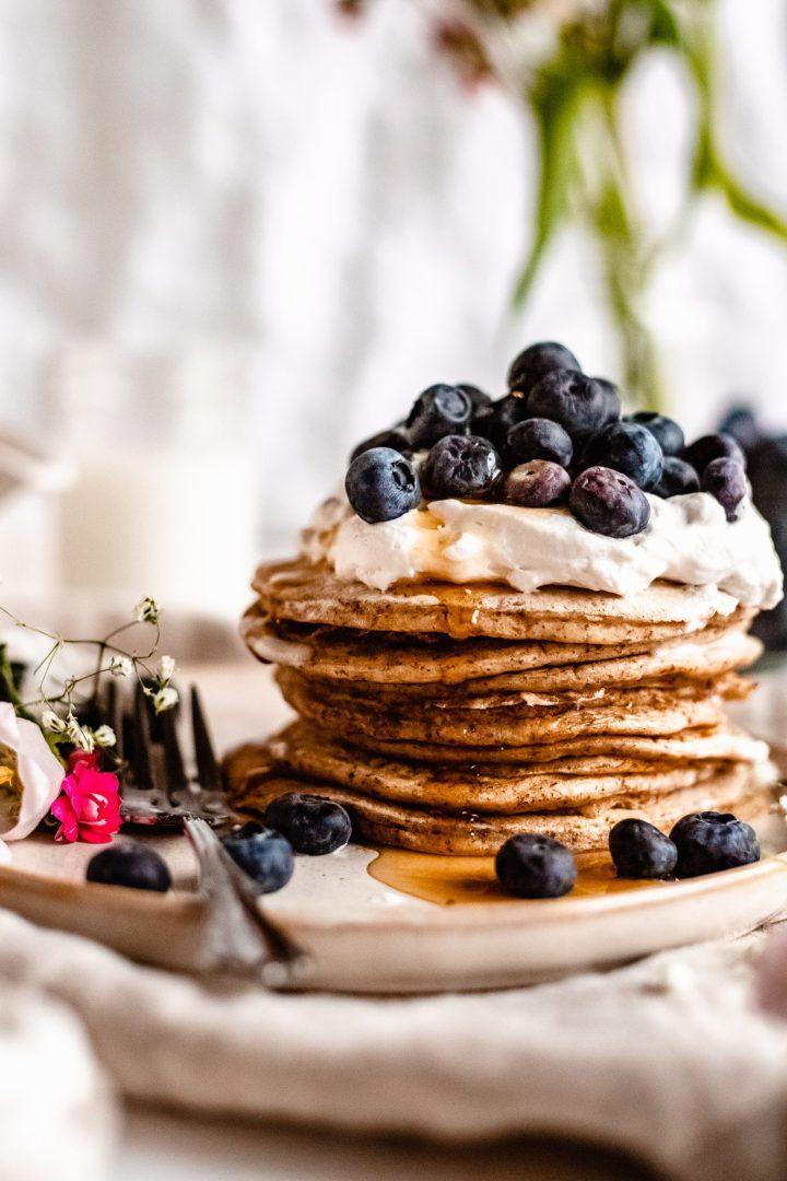 close up of vegan buttermilk pancakes