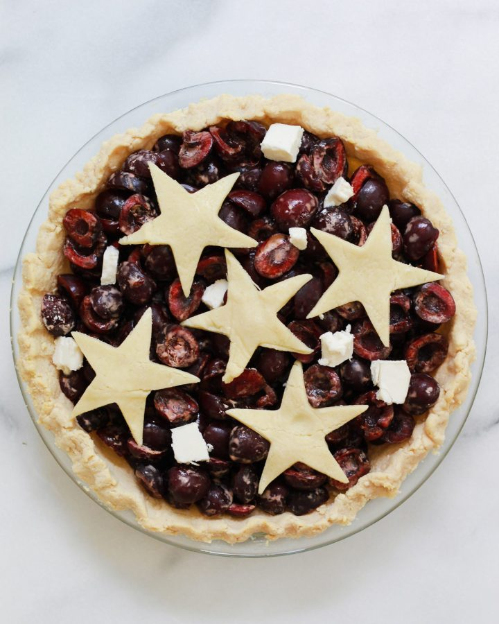 vegan cherry pie before it goes into the oven