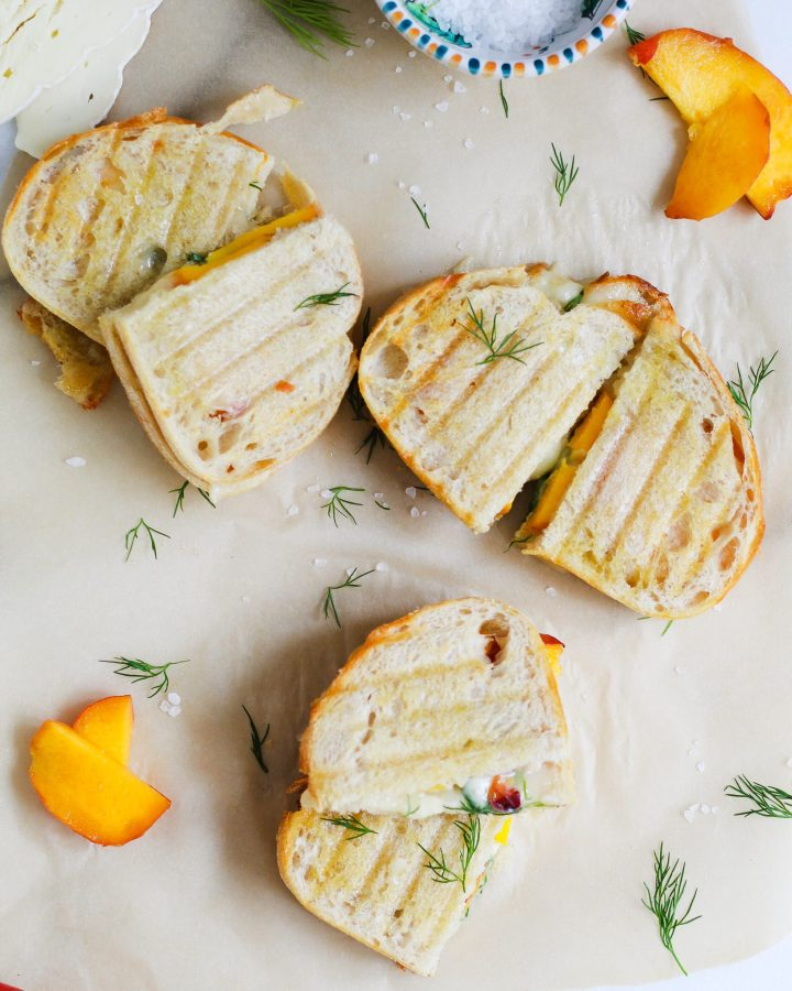 sliced brie and peach grilled cheeses