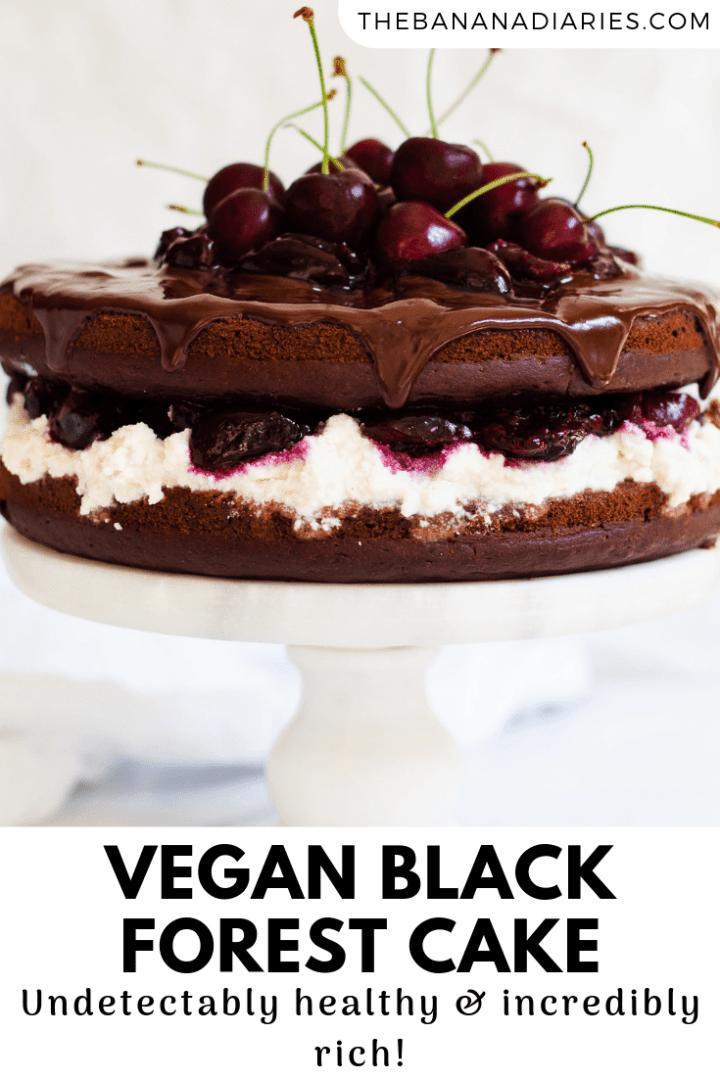 pinterest image for vegan black forest cake