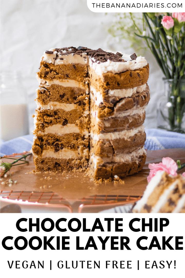 pinterest image for vegan cookie cake