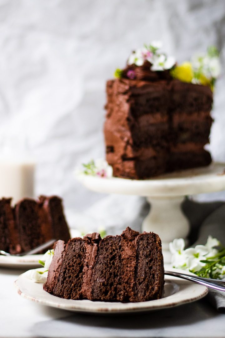 slices of zucchini cake on cake plates