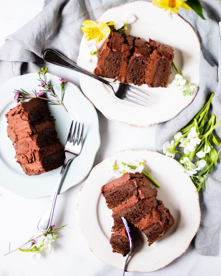 slices of chocolate zucchini cake