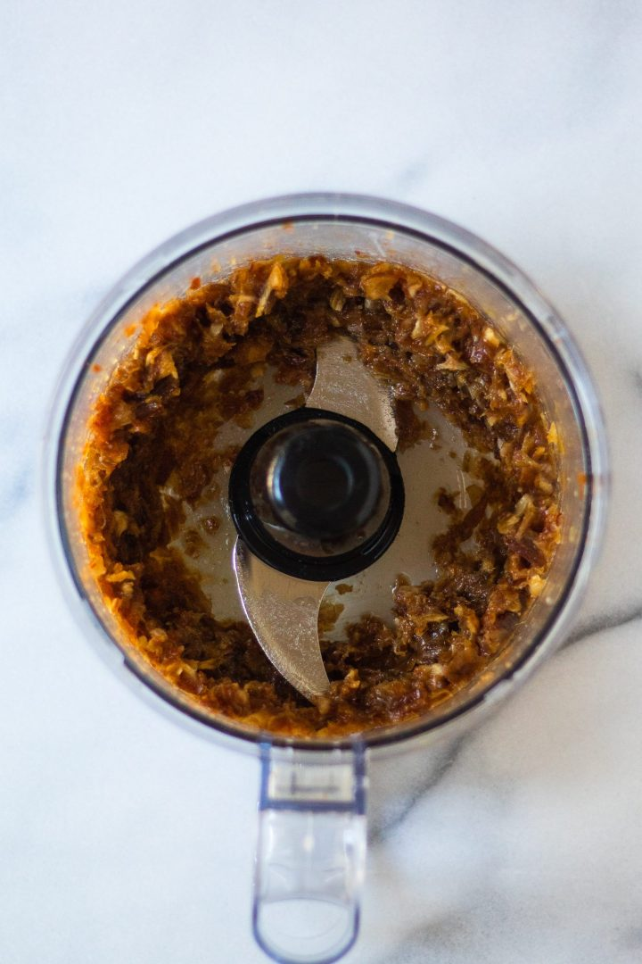 dates pureed in a food processor