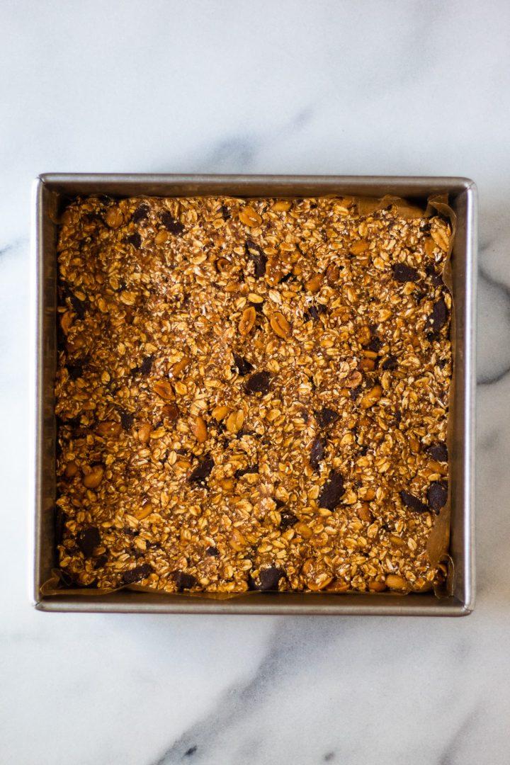 granola bars in baking pan