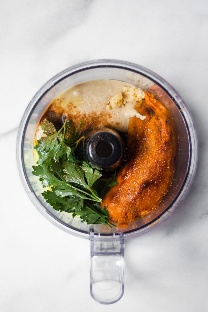 sweet potato hummus ingredients in food processor