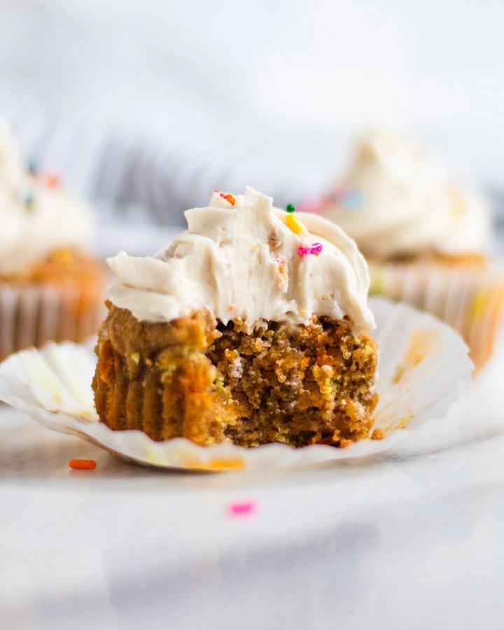 bite taken out of vanilla cupcakes