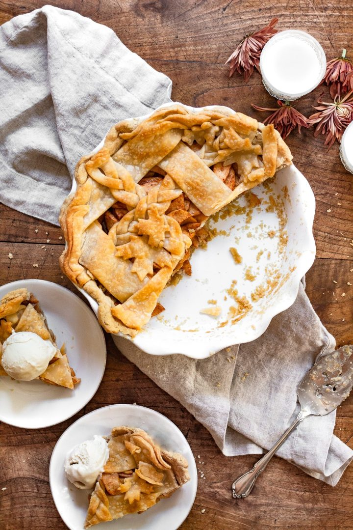 apple pie with slices missing