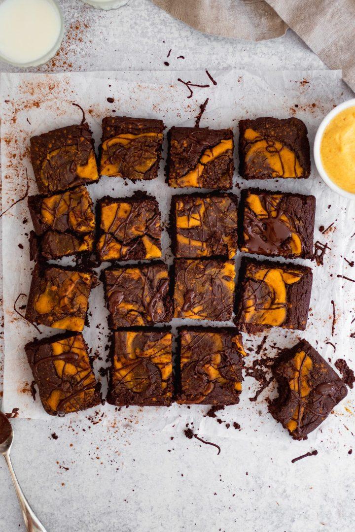 healthy pumpkin brownies in a square